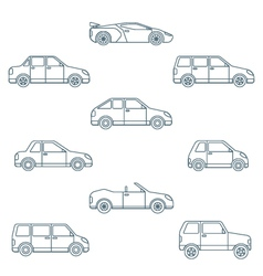 dark outline various body types of cars icons vector image