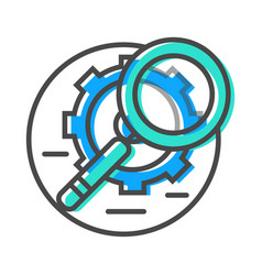 Data stream icon with magnifier and gear sign vector