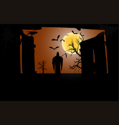 death with a scythe in front of an open gate vector image