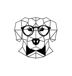 Dog labrador in glasses and a bow tie vector