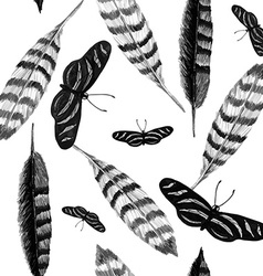 Feather and butterfly BW vector