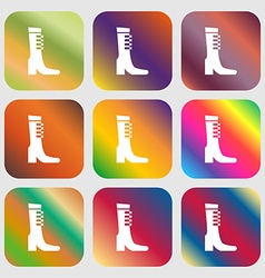 Female fall and winter shoe boot icon sign Nine vector