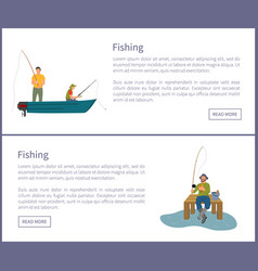Fishing people in wooden boat vector