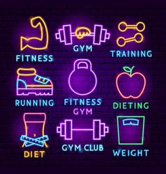 fitness neon label set vector image