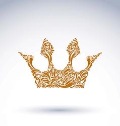 Flower-patterned crown art royal symbol king vector