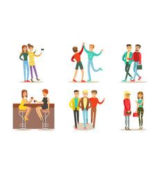 friends spending good time together set men and vector image