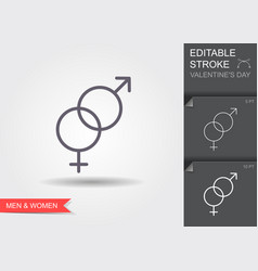 gender male and female crossed line icon with vector image
