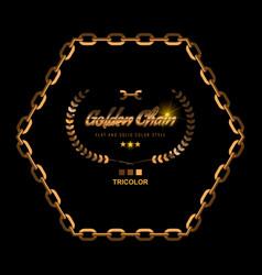 Golden chain border frame border in gold color vector