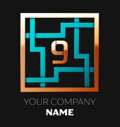 golden number nine logo symbol in the square maze vector image