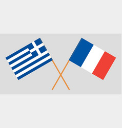 Greece and france flags vector