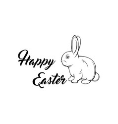 greeting card with with white easter bunny vector image