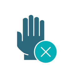 Hand with cross checkmark colored icon hygiene vector