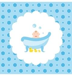 Happy bain bath with a rubber ducks vector