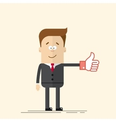 Happy businessman or manager shows a sign Thumb Up vector image