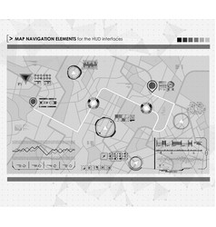 Head-up display navigation map elements for the vector