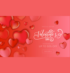 hearts happy valentines day love card flyer vector image