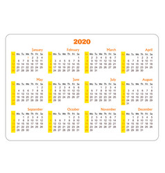 horizontal pocket calendar on 2020 year vector image