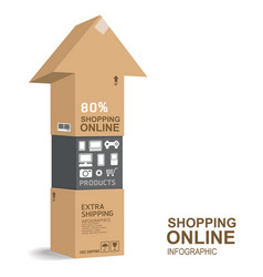 infographic template shopping paper box design vector image