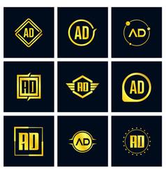 initial letter ad logo set design vector image