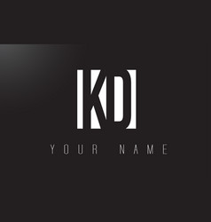 kd letter logo with black and white negative vector image