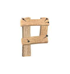 letter p wood board font plank and nails alphabet vector image