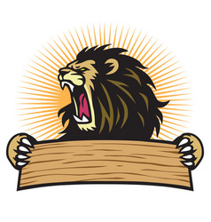 lion sport mascot logo hold blank banner vector image