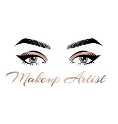 Makeup artist business card template hand vector