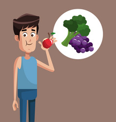 Man healthy food exercise vector