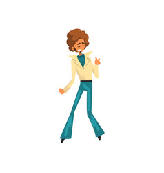 Man in 1980s style clothes dancing disco at music vector