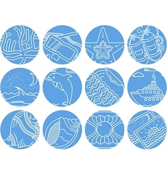 Maritime round icons collection vector image