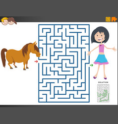 Maze game with cartoon girl and pony horse vector