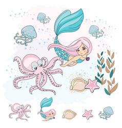 Mermaid octopus school autumn sea vector