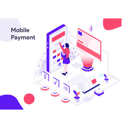 mobile marketing isometric modern flat design vector image