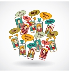 Mobile phones group happy communication people and vector image