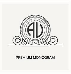 modern emblem badge monogram template luxury vector image