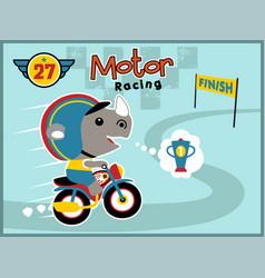 motor racing with funny rhino vector image