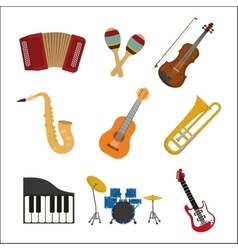 Music instrument icon set graphic vector image