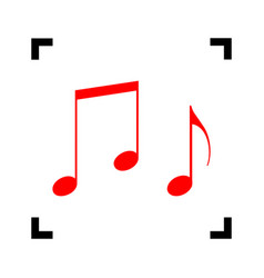 music notes sign red icon inside black vector image
