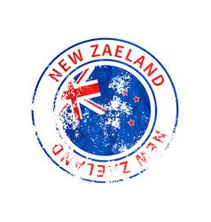 new zaeland sign vintage grunge imprint with flag vector image