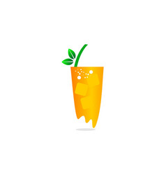 orange juice logo fresh juice posters the glass vector image