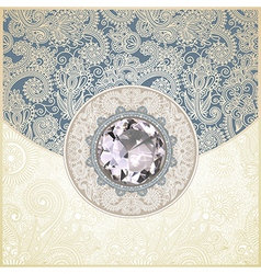 ornate floral background with diamond jewel vector image