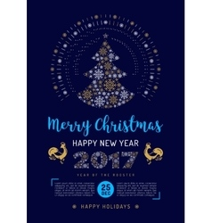 Party Christmas flyer Poster New Year 2017 vector image
