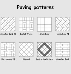 Paving patterns 8 different examples vector