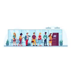 queue to indoor atm people line in bank flat vector image