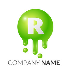 R letter splash green dots and bubbles letter vector