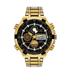 Realistic watch chronograph gold black face vector