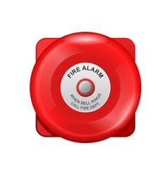 red fire alarm bell - wall siren school alarm vector image