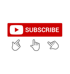 red subscribe button with push button hand icon vector image