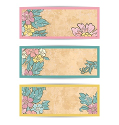 Retro flowers banner set vector image