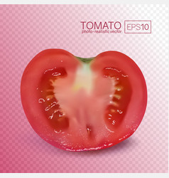 ripe red half of tomato on transparent background vector image